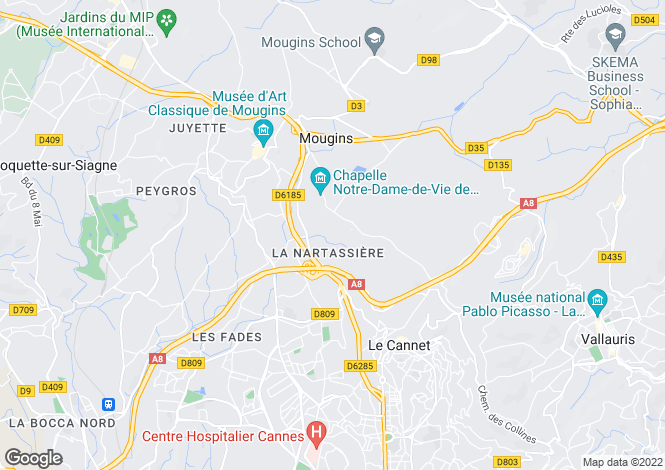 Map for Mougins, French Riviera