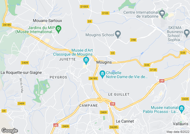 Map for Mougins, 06250, France