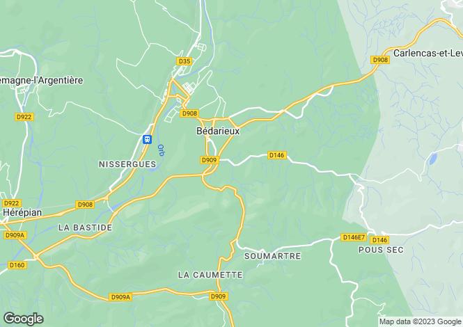 Map for Faugères, Hérault, Languedoc-Roussillon
