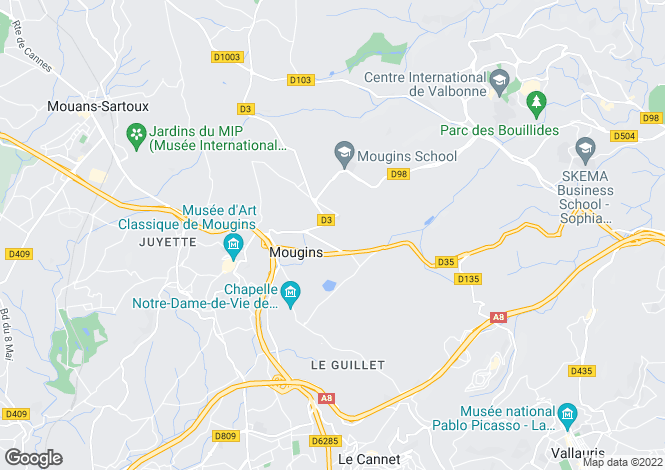 Map for Mougins, Alpes-Maritimes, 06250, France