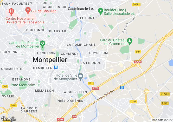 Map for Languedoc-Roussillon, Hérault, Montpellier