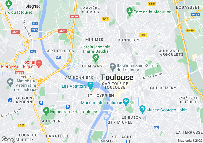 Map for TOULOUSE, Haute Garonne (Toulouse area), S.W France - Midi-Pyrenees,