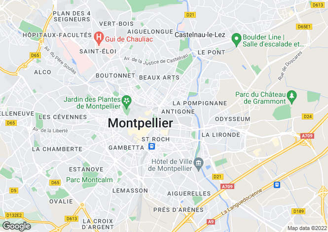 Map for Montpellier, Hérault