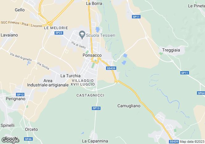 Map for Tuscany, Pisa, Ponsacco