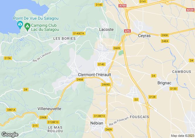 Map for Languedoc-Roussillon, Hérault, Clermont-l`Hérault