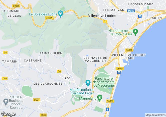Map for Les Hauts de Vaugreniers, Villeneuve Loubet, French Riviera