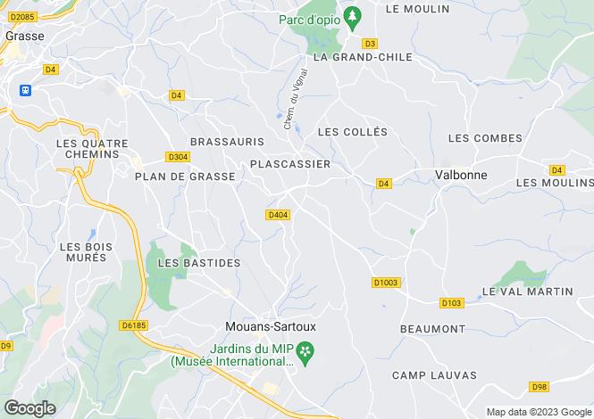 Map for Provence-Alps-Cote d`Azur, Alpes-Maritimes, Plascassier