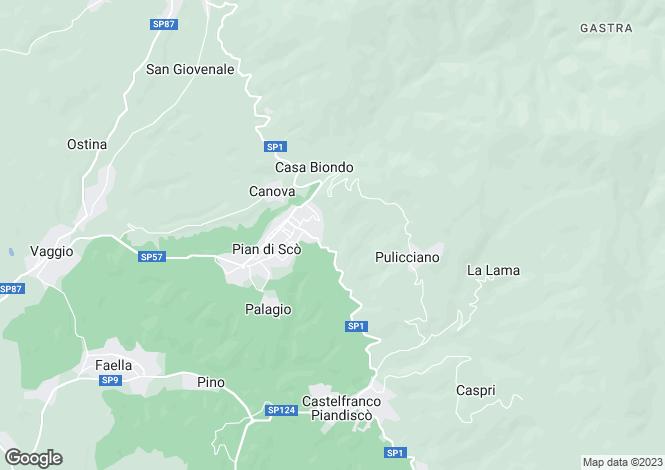 Map for Tuscany, Arezzo, Piàn di Scò