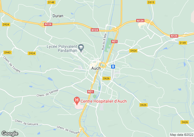 Map for Midi-Pyrénées, Gers, Auch
