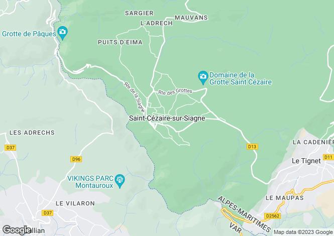 Map for Provence-Alps-Cote d`Azur, Alpes-Maritimes, St-Cézaire-sur-Siagne