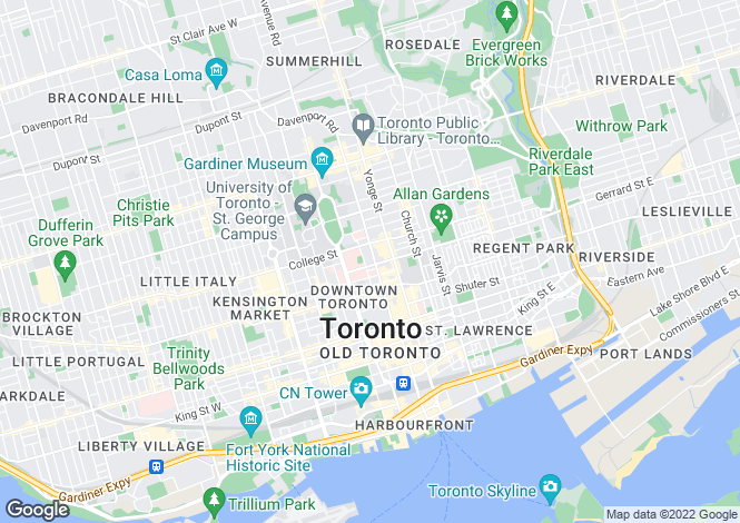 Map for Toronto, Ontario, Canada
