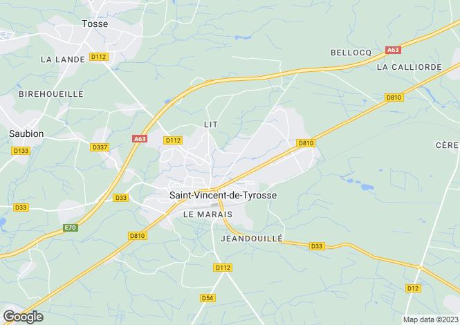 Map for st-vincent-de-tyrosse, Landes, France