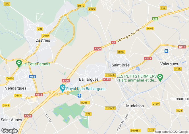 Map for Baillargues, Hérault, Languedoc-Roussillon