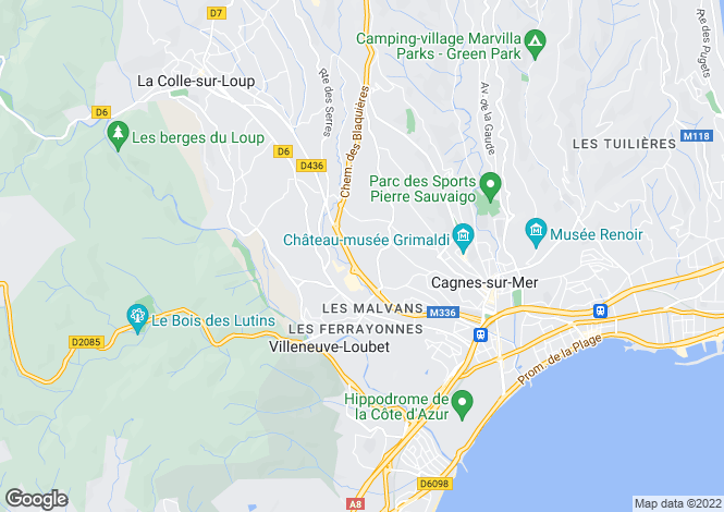 Map for VILLENEUVE LOUBET, Antibes Area, Riviera,