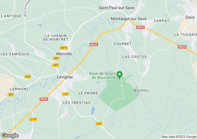 Map for Midi-Pyrénées, Haute-Garonne, Lévignac