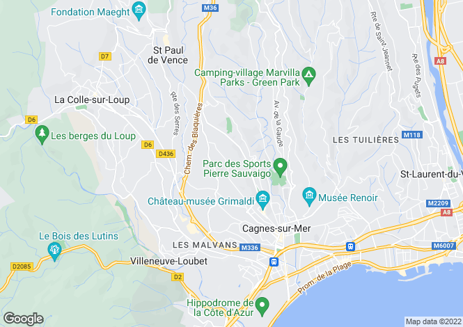 Map for Cagnes-sur-Mer, 06800, France