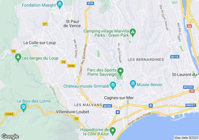 Map for Cagnes-sur-Mer (Les Collettes), 06800, France