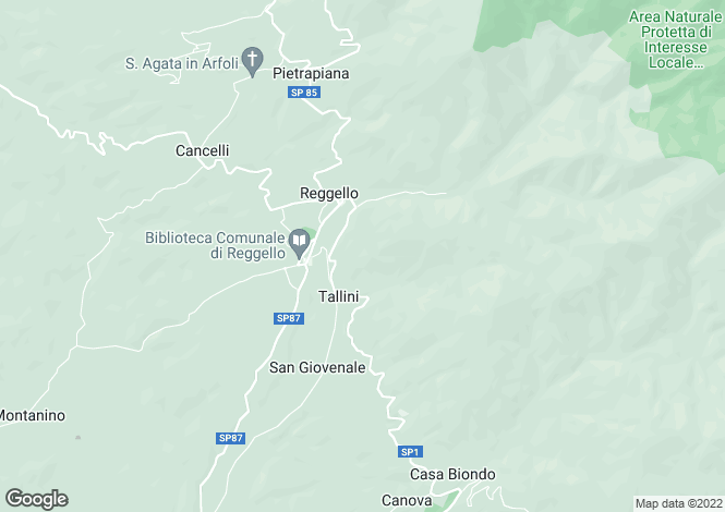 Map for Reggello, Florence, Tuscany