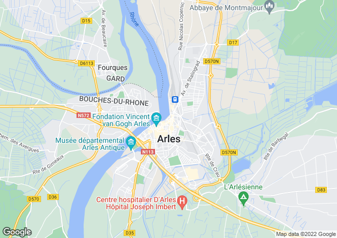Map for arles, Bouches-du-Rhône, France