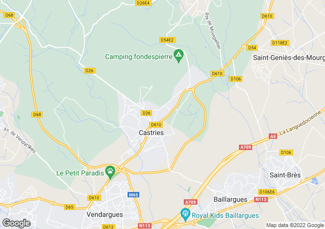 Map for CASTRIES, Montpellier Area, Languedoc,