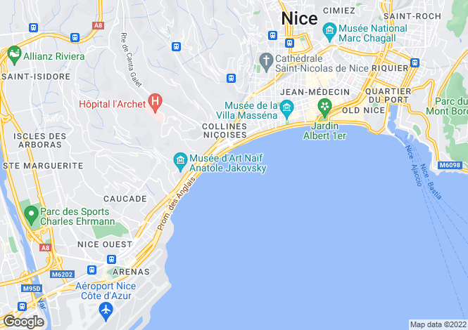 Map for Nice, Corniche Fleurie, Alpes-Maritimes, France