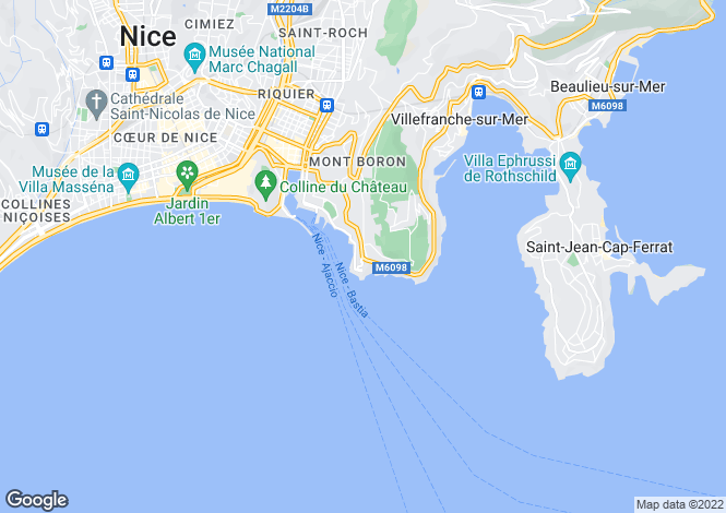 Map for Cap de Nice, French Riviera