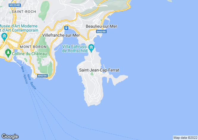 Map for Saint Jean Cap Ferrat, French Riviera