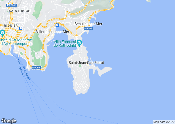 Map for ST JEAN CAP FERRAT, Villefranche, Cap Ferrat Area, French Riviera,