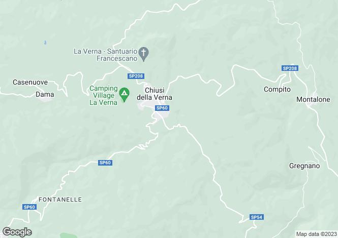 Map for Chiusi della Verna, Arezzo, Tuscany
