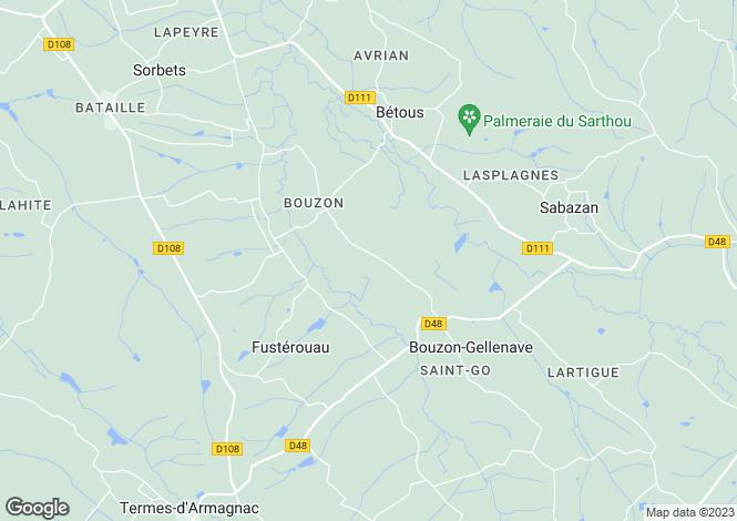 Map for bouzon-gellenave, Gers, France