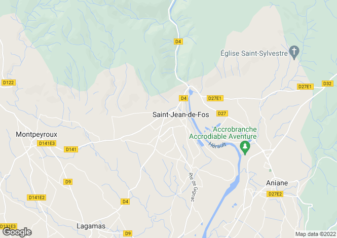 Map for St-Jean-de-Fos, Hérault, Languedoc-Roussillon