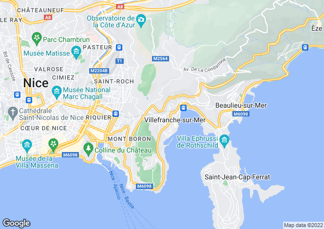 Map for Villefranche-Sur-Mer, French Riviera