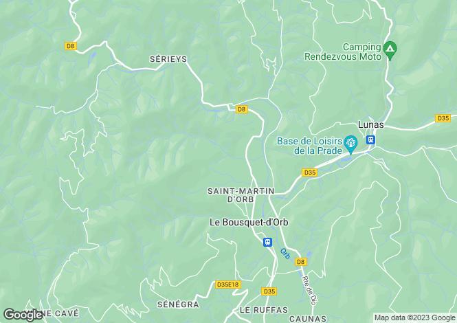 Map for Languedoc-Roussillon, Hérault, Le Bousquet-d`Orb