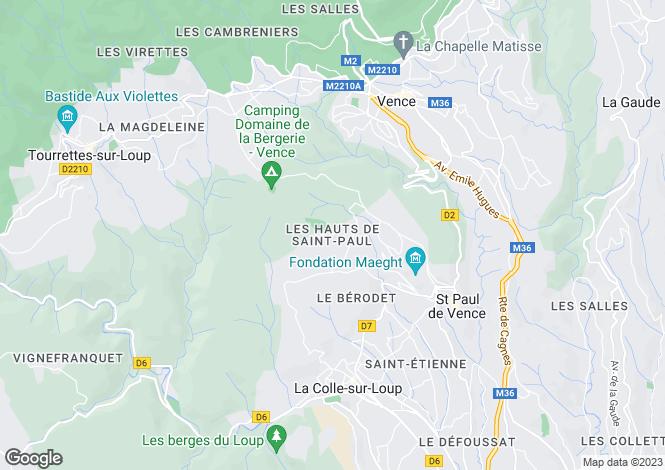 Map for Saint Paul de Vence, French Riviera