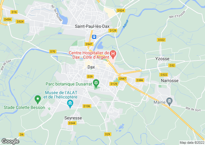 Map for Aquitaine, Landes, Dax