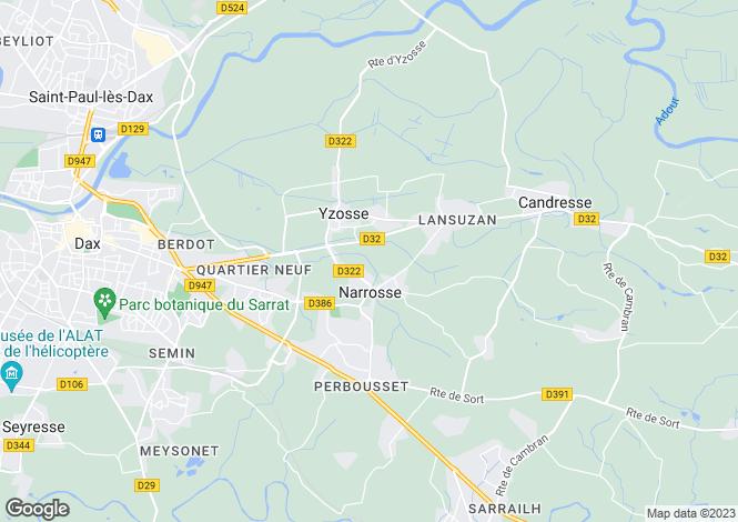Map for narrosse, Landes, France