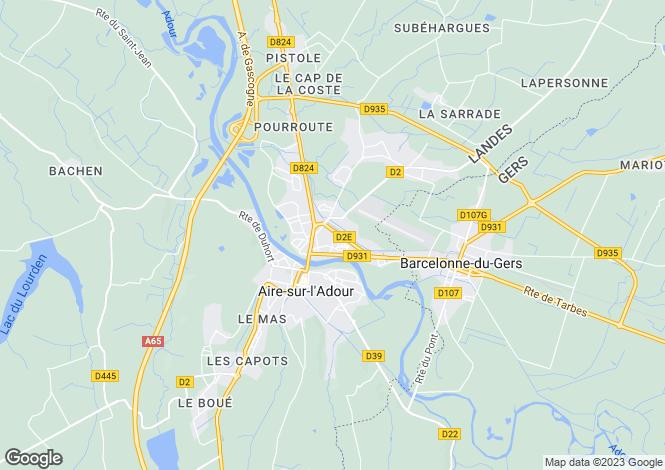 Map for aire-sur-l-adour, Landes, France