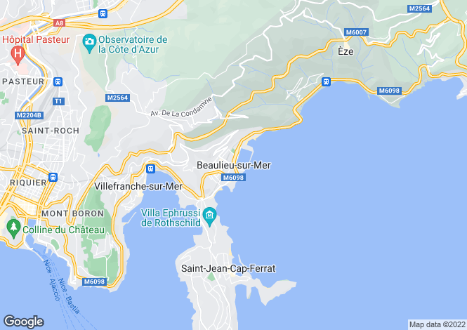 Map for BEAULIEU SUR MER, Villefranche, Cap Ferrat Area, Riviera,