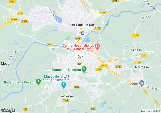 Map for Dax, Landes, Aquitaine