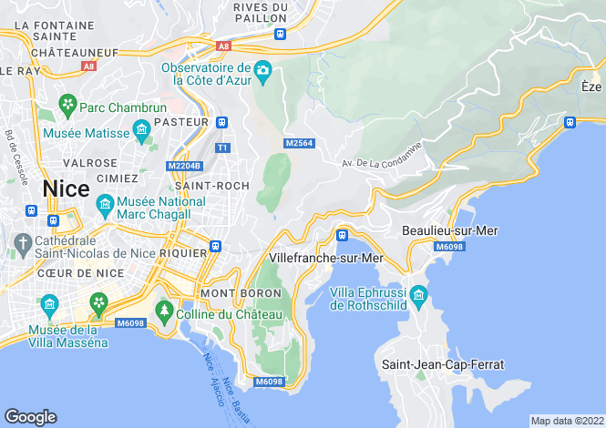 Map for Villefranche Sur Mer, French Riviera, France