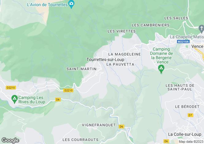 Map for Provence-Alps-Cote d`Azur, Alpes-Maritimes, Tourrettes Sur Loup