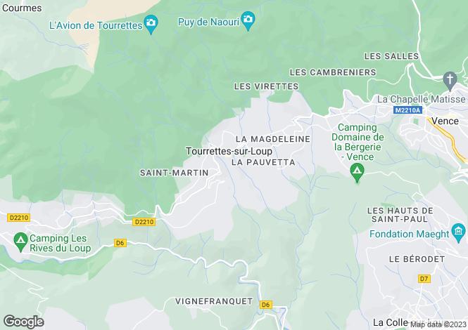Map for Tourrettes Sur Loup, Alpes-Maritimes, Provence-Alps-Cote d`Azur
