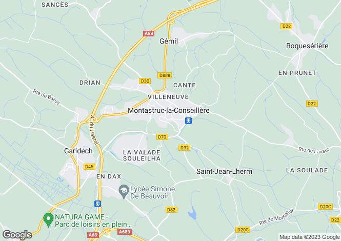 Map for MONTASTRUC LA CONSEILLERE, Haute Garonne (Toulouse area), S.W France - Midi-Pyrenees,
