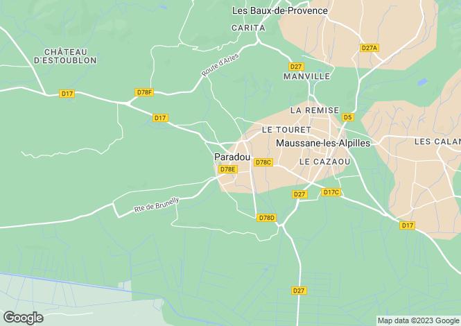Map for Provence-Alps-Cote d`Azur, Bouches-du-Rhône, Paradou