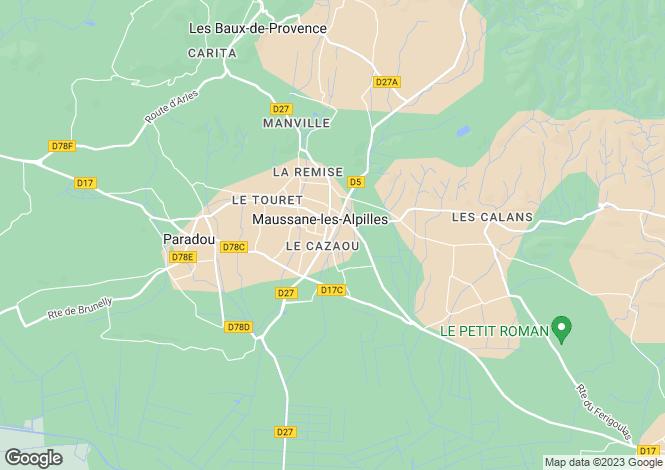 Map for Provence-Alps-Cote d`Azur, Bouches-du-Rhône, Maussane-les-Alpilles