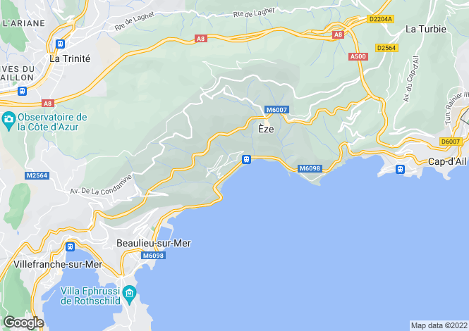 Map for Eze Sur Mer, French Riviera