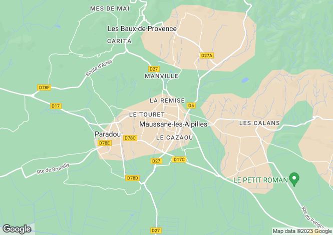 Map for Maussane Les Alpilles, Provence, Bouches-Du-Rhone