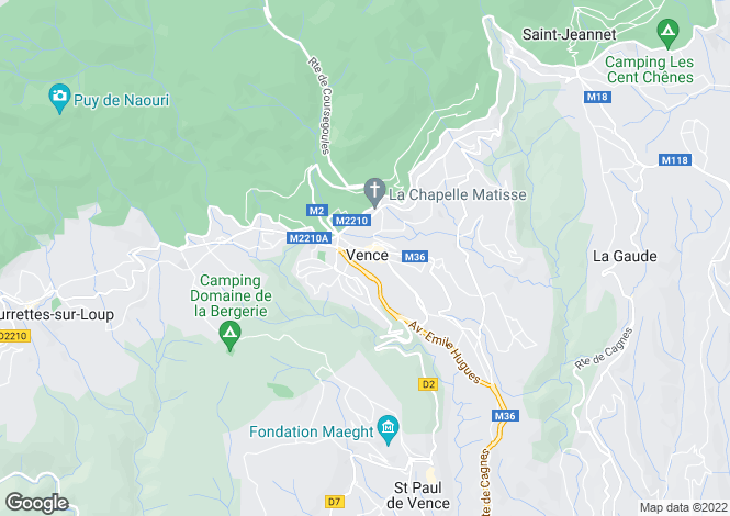Map for Provence-Alps-Cote d`Azur, Alpes-Maritimes, Vence