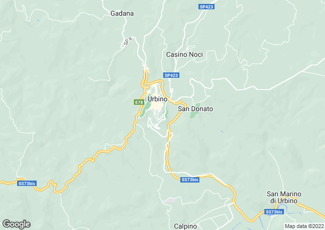 Map for Le Marche, Pesaro e Urbino, Urbino