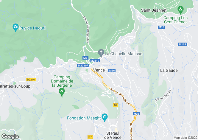 Map for Vence, Alpes-Maritimes, 06140, France